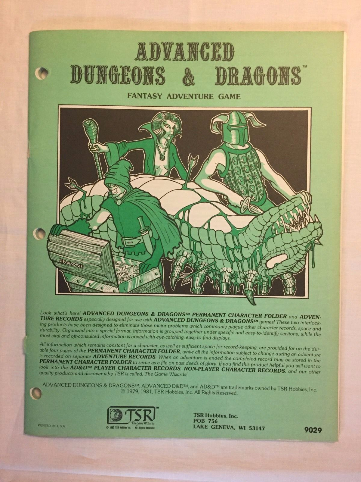 1981 TSR Dungeons & Dragons AD&D Fantasy Adventure Game Character Folder