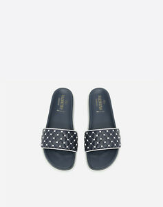 85090a44b5109 Image is loading VALENTINO-Garavani-Free-Rockstud-Spike-Slide-Slipper -Marine-