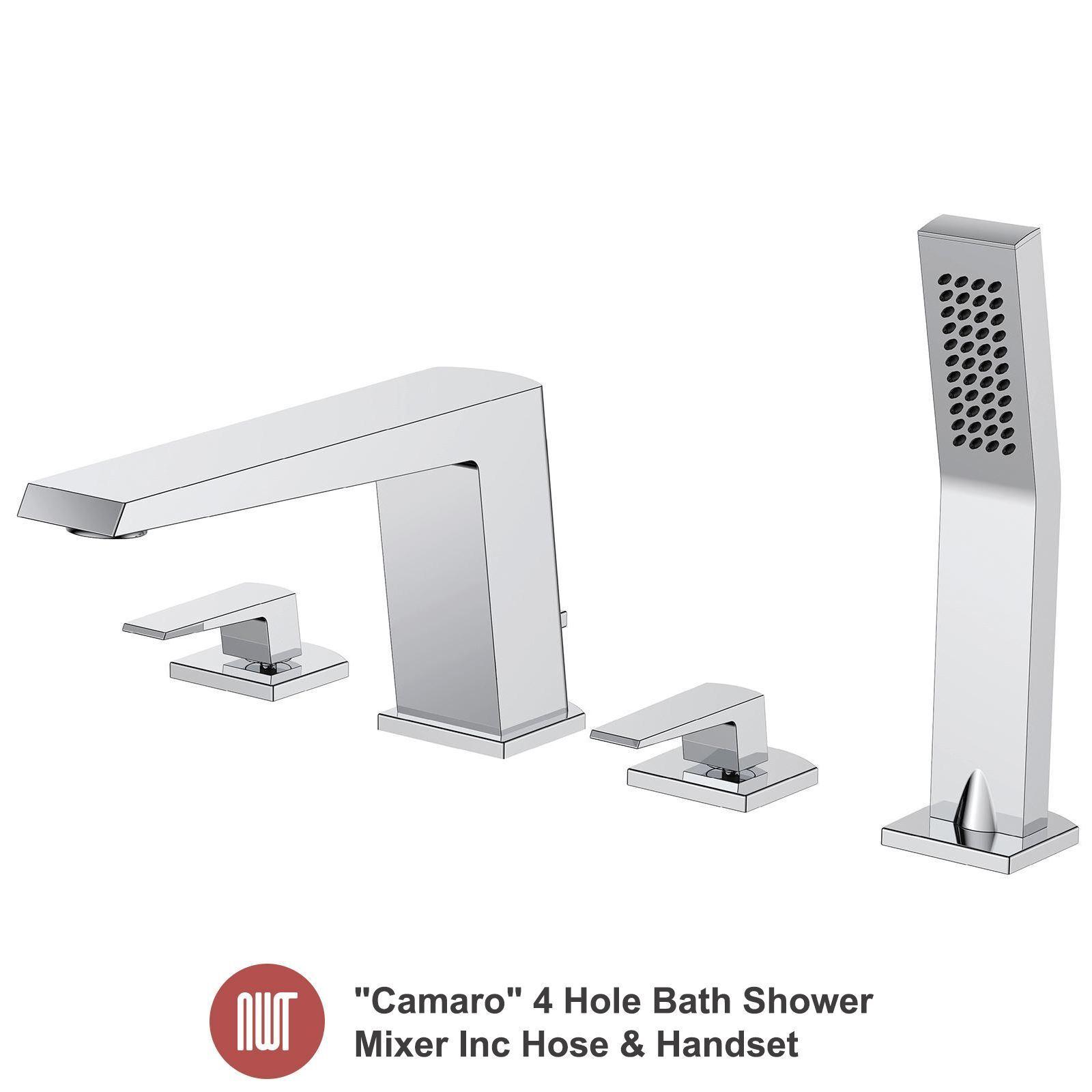 CAMARO  Chrome 4 trous bain douche Mélangeur Inc Tuyau & Combiné-Salle de bains robinets