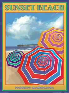 Image Is Loading Sunset Beach Nc Vintage Art Deco Style Travel