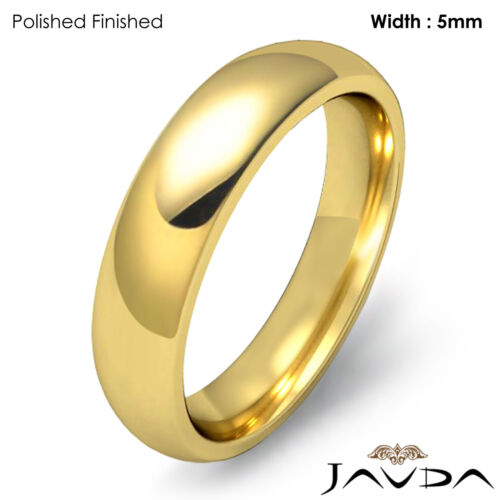 Men Wedding Band 14k Gold Yellow Classic Dome Comfort Solid Ring 5mm 8.3g 1111