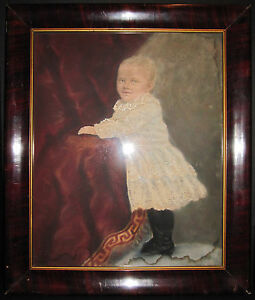 ANTIQUE-AMERICAN-FOLK-ART-STYLE-VICTORIAN-BABY-BOY-PAINTING-INTERIOR-DECORATE