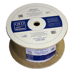 QED-Professional-qx16-2-pvc-flame-retardant-2-ame-Cable-Haut-Parleur-Blanc-300M