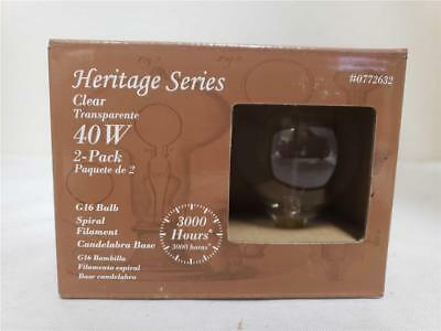 NEW Heritage Series Clear 0772632 40W VINTAGE G16 BULB