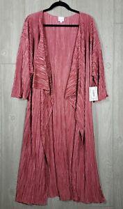 Lularoe-Shirley-Kimono-grande-Crinkle-a-Pieghe-Scuro-Rosa-Dusty-Rose-Solido-Nuovo