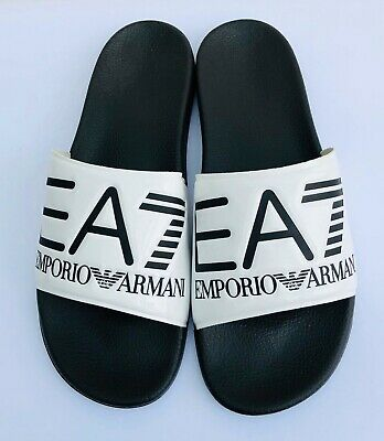 Emporio Armani Ea7 White & Black Sliders Sandals Shoes Sizes Uk 6 - 9.5 & 11 Hochwertige Materialien