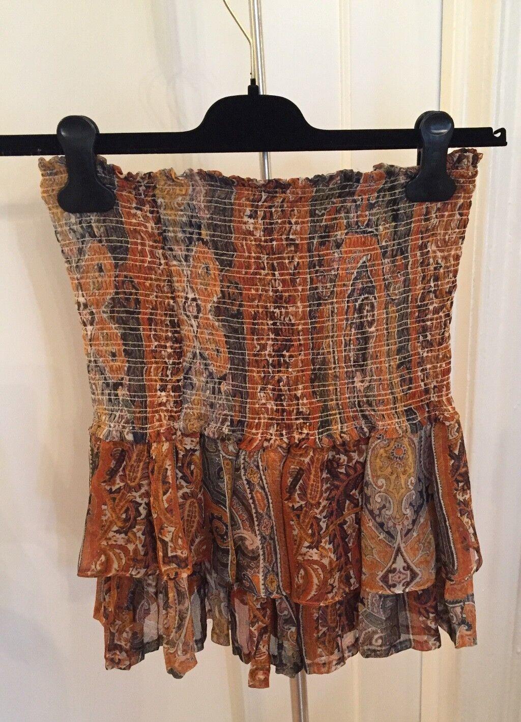Isabel Marant Silk Orange and Blau Patterned Tierot Frill Skirt Größe 40