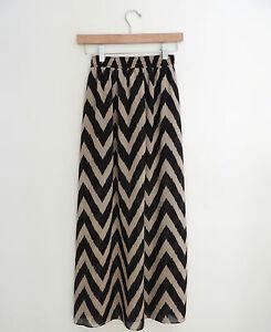 Women-039-s-Moa-Moa-Urban-Outfitters-Chevron-Maxi-Skirt-Black-amp-Tan-Size-XS