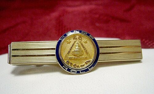 "14K YELLOW GOLD ""BELL SYSTEM"" HONOR ROLL MEDAL ON 12K GOLD FILLED TIE CLIP"