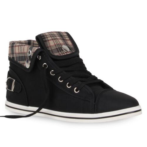 Damen Sneakers High Ketten Zipper Animal Print 78203 Trendy