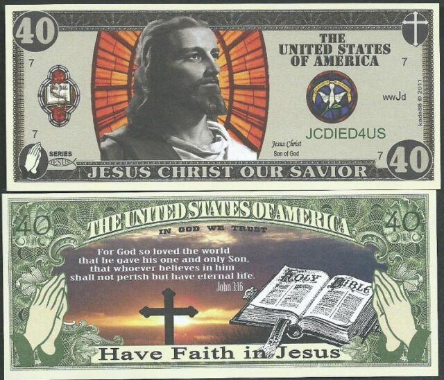 CHRISTIAN / JESUS BILLS BIBLE JOHN 3:16 - LOT OF 2