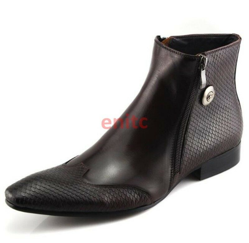 British Pointed Real Leather High Top shoes Mens Ankles Boots Dress Size A-02