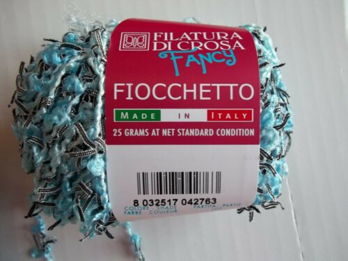 38 yds ea Filatura Di Crossa Dancy Fiochetto accent yarn light blue lot of 2