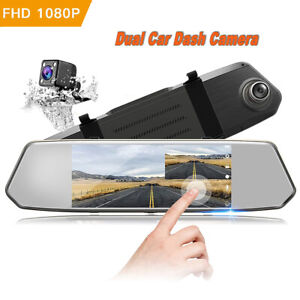 TOGUARD-Backup-Camera-7-034-Mirror-Dash-Cam-Touch-Screen-HD1080P-Rearview-Dual-Lens