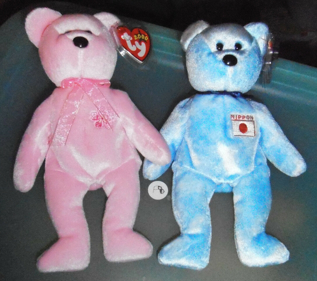 2 International Japan Exclusive Ty Beanie Babies Sakura Sakura Sakura & Nipponia both MWMTs 6b5020