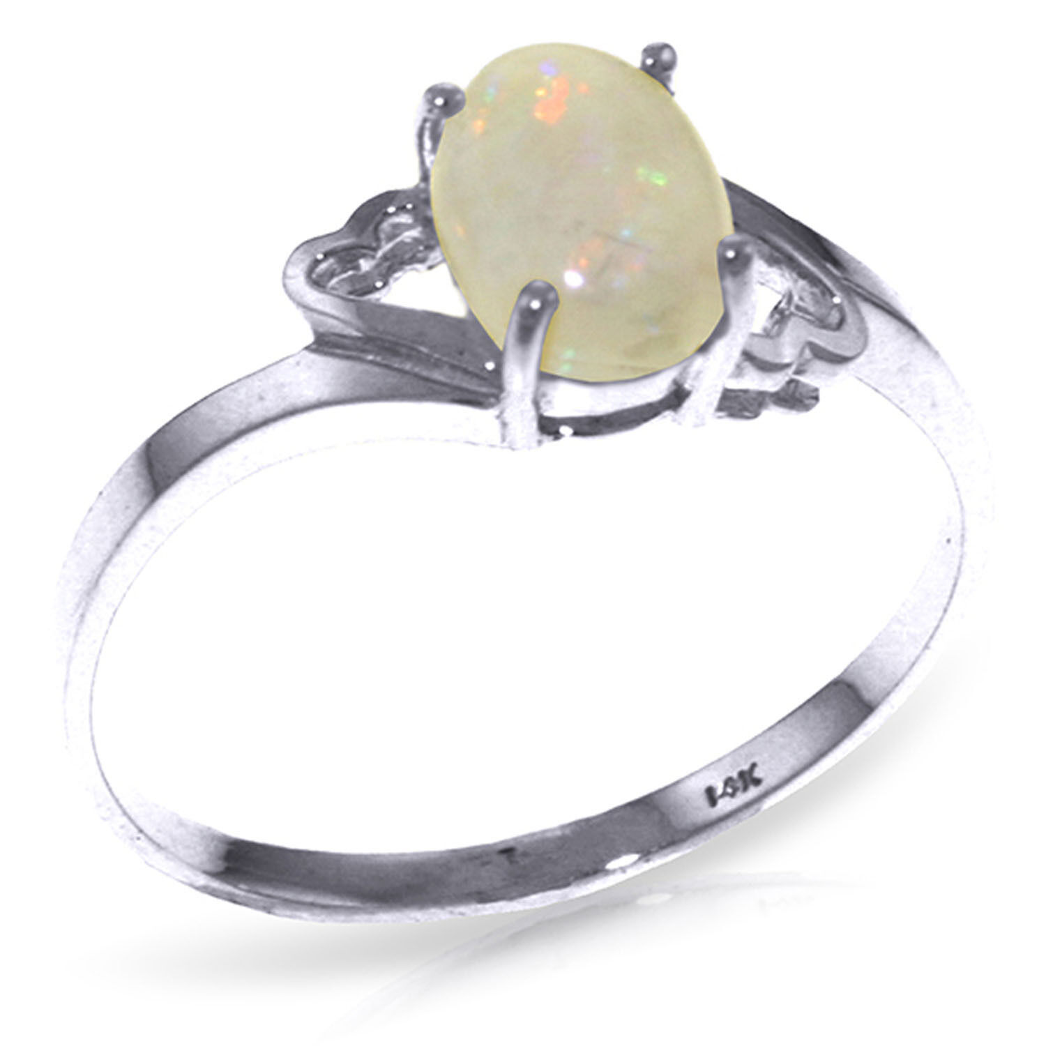 Brand New 0.45 CTW 14K Solid White gold Boundless Heart Opal Ring