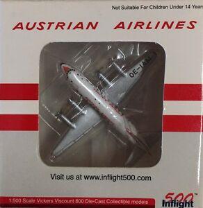 Inflight 500 - 1/500 Austrian Airlines Vivkers Viscount 800 Reg#OE-IAM (RARE)