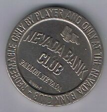 Nevada Bank Club Casino $1.00 Gaming Token Fallon Nevada 1966 F