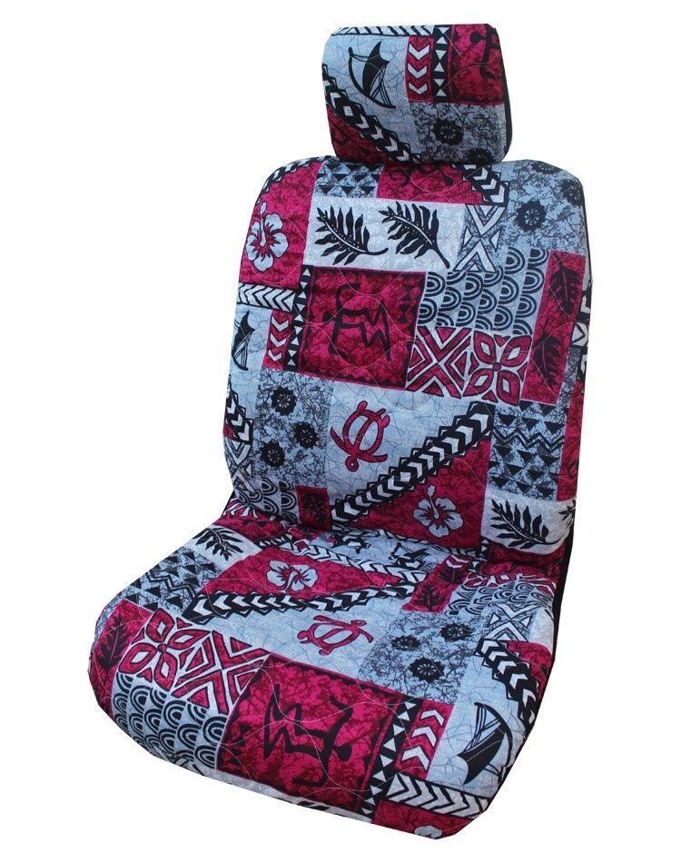 Red Hawaiian Tapa Design Separate Headrest Car Seat Cover - Set of 2