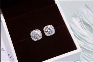 2-50Ct-Round-Cut-Moissanite-Push-Back-Halo-Stud-Earrings-14K-White-Gold-Finish
