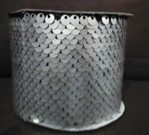 Silver Sequin 2.5 in Decorative Ribbon 3 Yards Long Set of 2