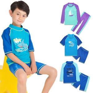 ece016cece19e Kids Boys Swim Trunks Shorts Rash Guard Shirt UV Surfing Swimwear ...