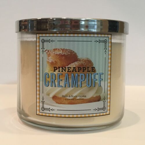 BATH /& BODY WORKS PINEAPPLE CREAMPUFF SCENTED CANDLE 3 WICK 14.5 OZ FILLED LARGE