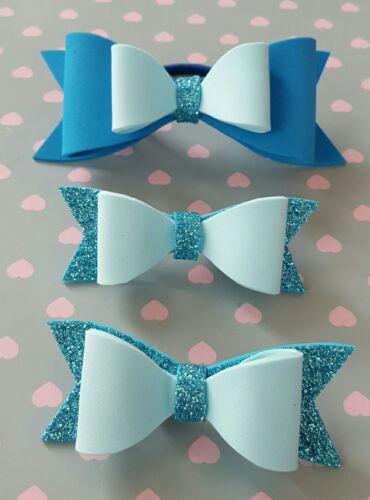 Sparkle Glitter blue   set Hair Bow Girls. aligator clip// bobble