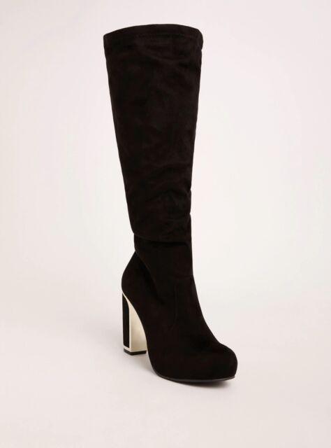eeda370533fc Torrid Metal Velvet Heel Slouchy Boots Black Wide Width   Wide Calf Sz 10   32526