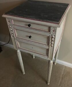 Antique-Wood-Signed-Cabinet-End-Table-Nightstand-ART-DECO-Slate-Top-Drawer-Door