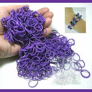 NEW Loom PURPLE COLOR 600 Bulk Rubber Bands for Rainbow Refill /w S-clip (25)