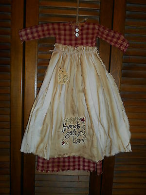 Primitive Wall Decor Dress RED PLAID W/APRON Friends Gather Here, Prim, Grungy