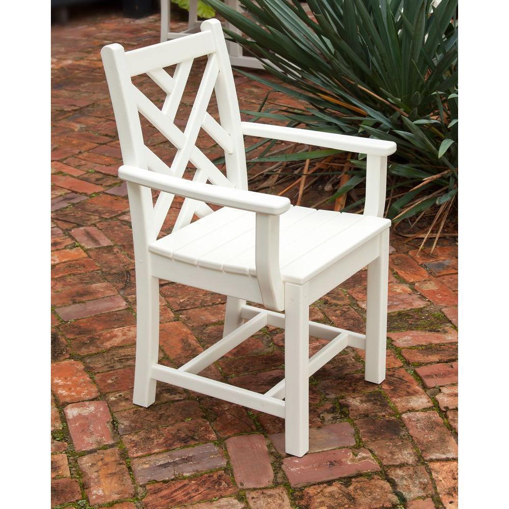 Polywood Comedor sillón blancoo todas las condiciones meteorológicas impermeabilización exterior de plástico NUEVO