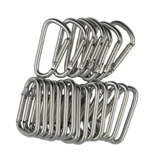 20pcs Carabiner D-Ring Hook Buckle Keychain Keyring Hiking 4.6x2.5cm Silver