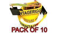 Heavy Duty Ratchet Strap Tiedown 27'x2 Flat Hook 10k Break Strength 10 Pack