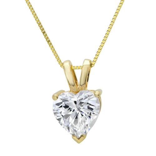 """16/"""" Chain 0.4ct Heart Cut Solitaire Solid 14k Yellow Gold Pendant Necklace"""