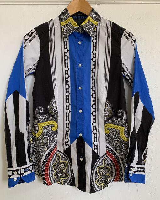 $530 Etro Size 42 4/6 Top Blouse Shirt Cobalt Blue Paisley Stripe Print Stretch