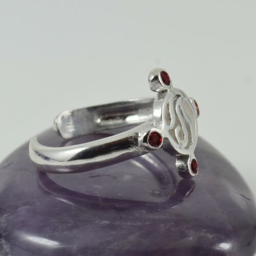 Ladies Free Size Fashion Toe Ring Silver /& Siam Crystal 2mm Band Adjustable New