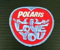 Vintage Embroidered Polaris I Love You W/ Blue Trim Snowmobile Patch (nos)