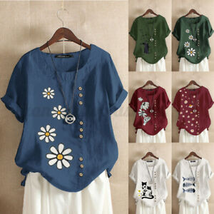 ZANZEA Women Summer Basic Shirt Floral Top Blouse Round Neck Floral Print Plus