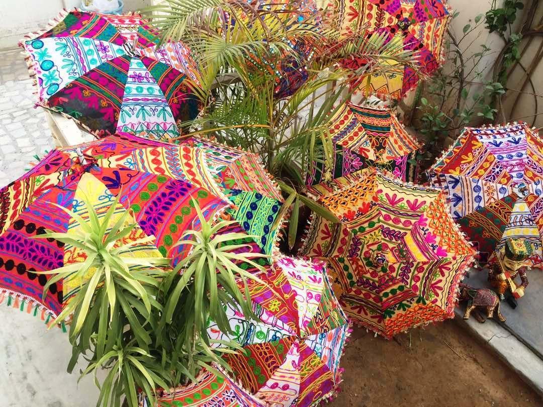 Embroidered Wedding Bridal Shower Handmade-Parasol 10 Pc Home-Garden Umbrella