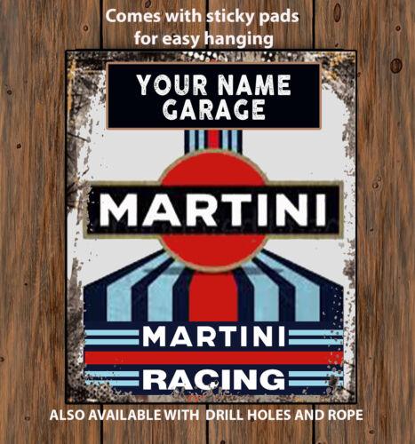 PERSONALISED MARTINI RACING GARAGE WORKSHOP SHED Vintage  Metal Wall Sign RS141