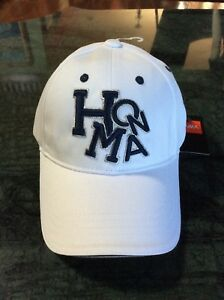 9b44e35065b Image is loading NEW-Honma-White-Navy-Adjustable-Golf-Hat-Cap-