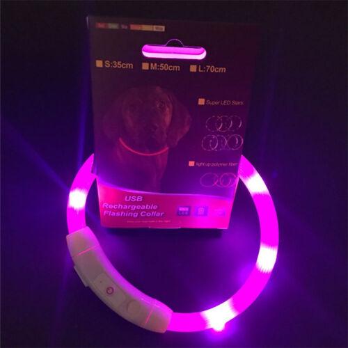 USB Rechargable LED Dog Pet Collar Flashing Luminous Safety Light Up Nylon New