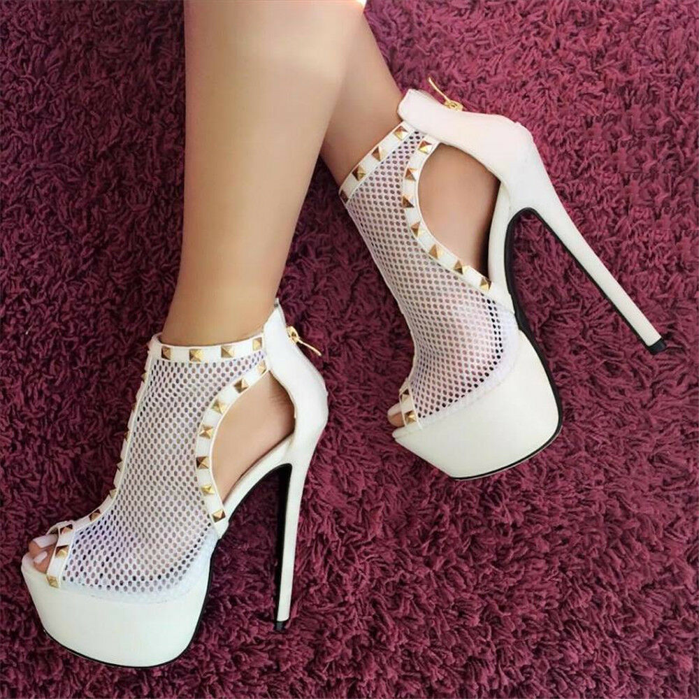 Fashion Stilettos Damen Abendschuhe Loch Sommer Plateau High Heels Pumps Sandale