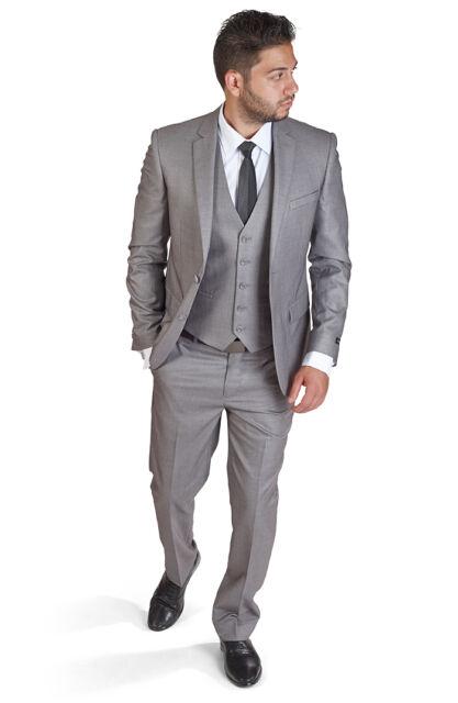 Slim Fit Suit 3 Piece Vested 2 Button Charcoal Grey Notch Lapel By AZAR MAN