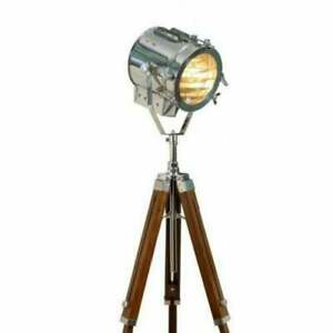Nautical Hollywood Spot Light With Tripod Wooden Stand Studio Floor Lamp