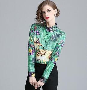 Floral-Printed-Womens-Slim-Tops-Shirt-Blouses-Career-Tops-OL-Shirts-Lapel-Formal