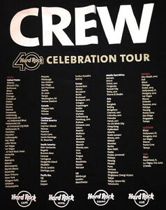Hard-Rock-Cafe-LONDON-2011-40th-Celebration-Tour-CREW-Black-T-SHIRT-Womens-Large
