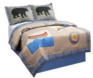 TWIN-SINGLE-Target-Camp-Out-Appliqued-Camping-Theme-Summer-QUILT-amp-SHAM-SET
